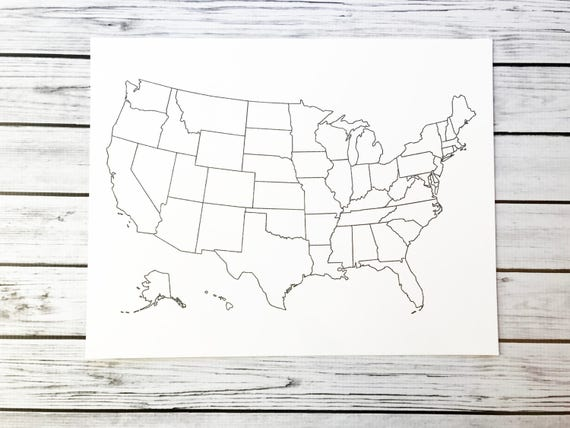 United States Map, USA Coloring Map, USA Travel Map, Adult Coloring Page,  Coloring Page Kids, Etsy Seller Supplies, USA Map, Oversized Map