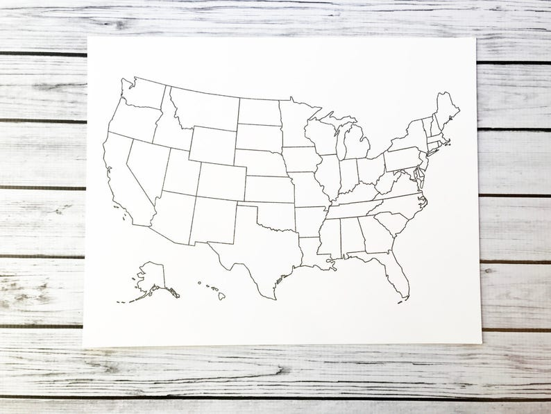 United States Map USA Coloring Map USA Travel Map Adult | Etsy