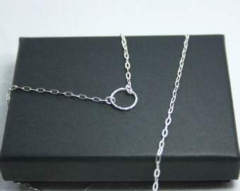Sterling Silver Eternity Circle Necklace. Circle of Life. Dainty Necklace. Karma. UK shop