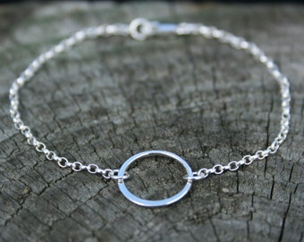 Karma circle bracelet. Delicate sterling silver eternity ring bracelet. Friendship bracelet, bridesmaid gift