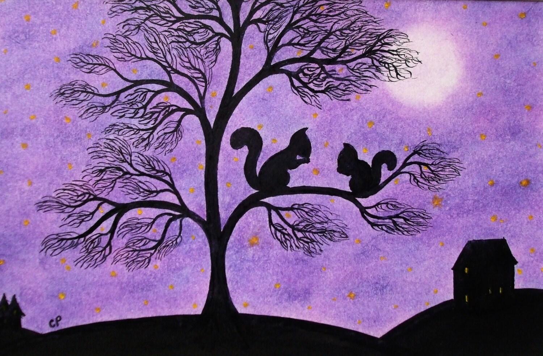 Écureuil arbre violet carte écureuils lune étoiles carte   etsy