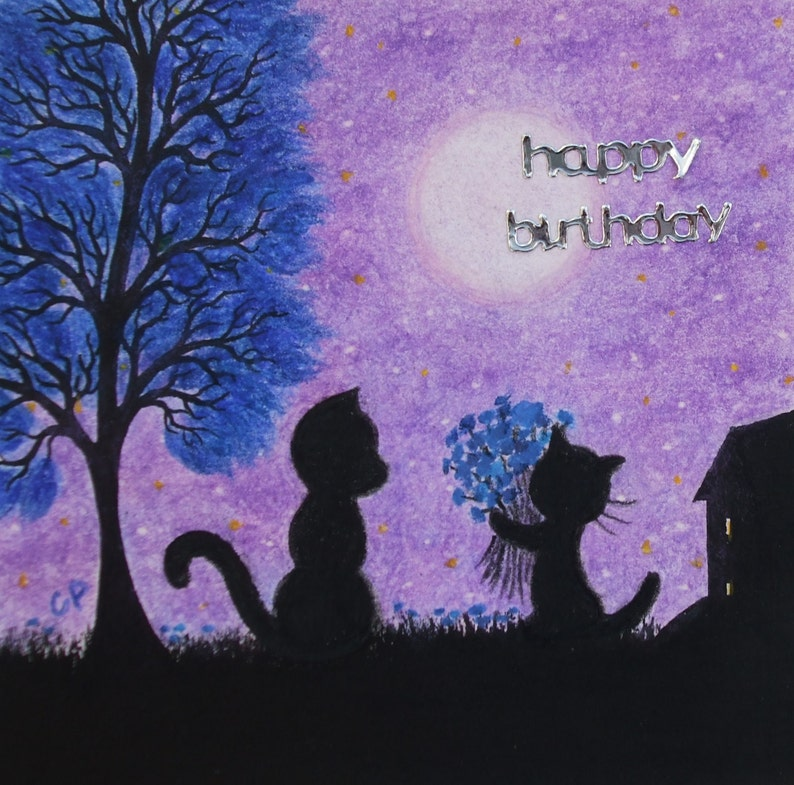 Cat Birthday Card Mother Black Flowers
