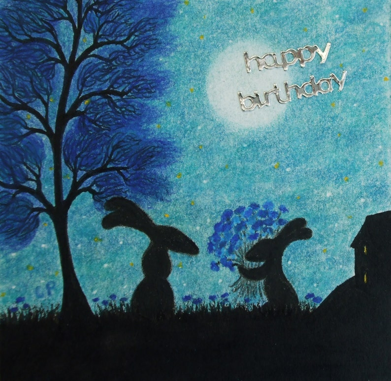 Rabbit Birthday Card Bunny Flowers Son To Mother
