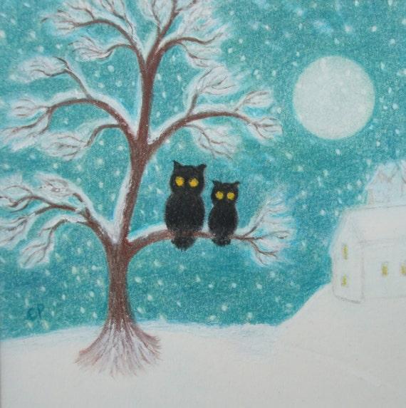 Eule-Weihnachtskarte Schnee Baum Karte Mond-Ferien-Karte | Etsy