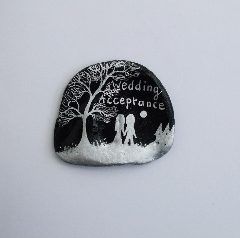Wedding Acceptance Card Shell Hand Painted Couple Tree Moon Card Unique Acceptance Art Card Seashell Art Romantic Couple Acceptance