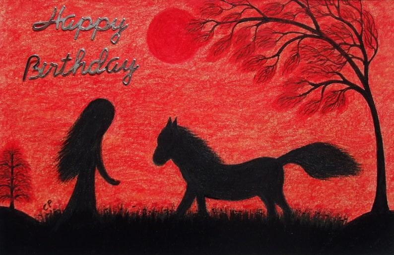 Horse Birthday Card Girl Black Red