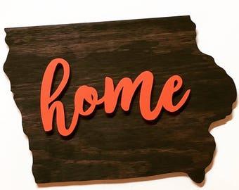 HOME Iowa Wood Sign Wall Hanging Decor Kona and Coral