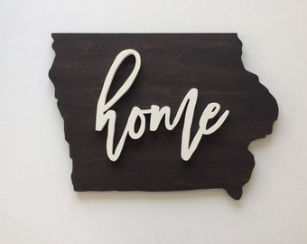 White HOME State of Iowa Wood Sign