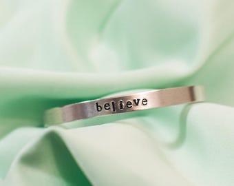 Hand Stamped Aluminum Cuff Bracelet