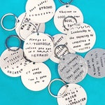 Custom stamped keychain - WHATEVER text you want!! - metal keychain - round keychain - metal stamped - gift - custom quote