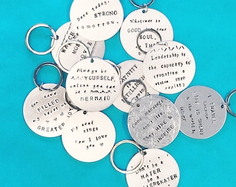Custom Keychain - WHATEVER text you want!! - 20 fonts to choose from (and many extras!) - Several sizes - Great Gift for Anyone