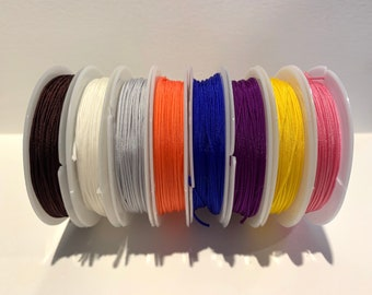 Assorted Colors NYLON Braided Cord 1mm - 1 ROLL 8m long