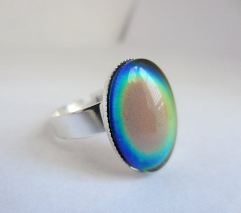 Color Changing Ring Silver Adjustable Mood Ring Mood Jewelry 18x13mm Oval Mood Cabochon Silver Plated Setting