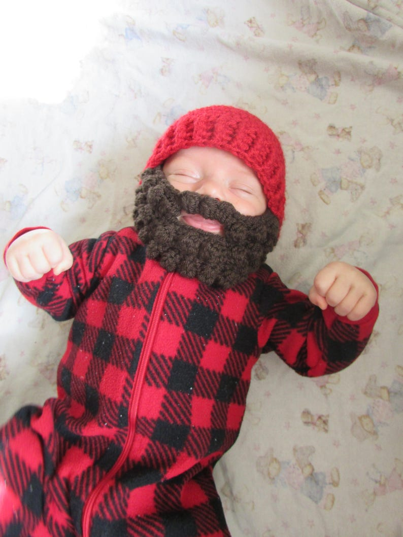 19f843f09c6 Baby Beard Hat for infant. 0-3 months Woodsman Beanie. Baby