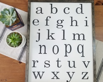 Alphabet Sign | ABC Wall Art | Alphabet Wall Art | Nursery Sign | Playroom Sign | Children's Sign | Framed Wood Sign | Lowercase Letters