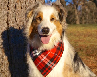 Plaid Dog Bandana - Dog Scarf - Dog Bandana Over the Collar - Flannel Dog Bandana - Cute Dog Bandana - Gifts for Dogs - Pet Accessories