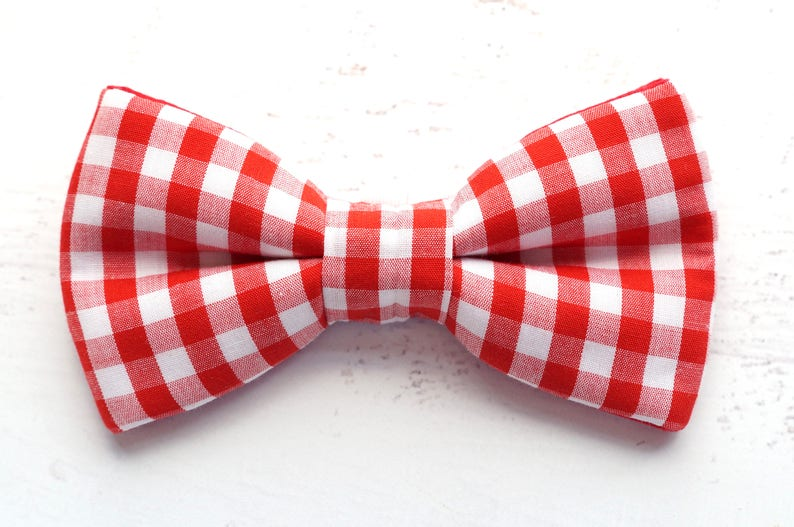 f5abbacaae71 Red Gingham Dog Bow Tie Pet Bows Dog Bow Ties Cat Bowtie | Etsy