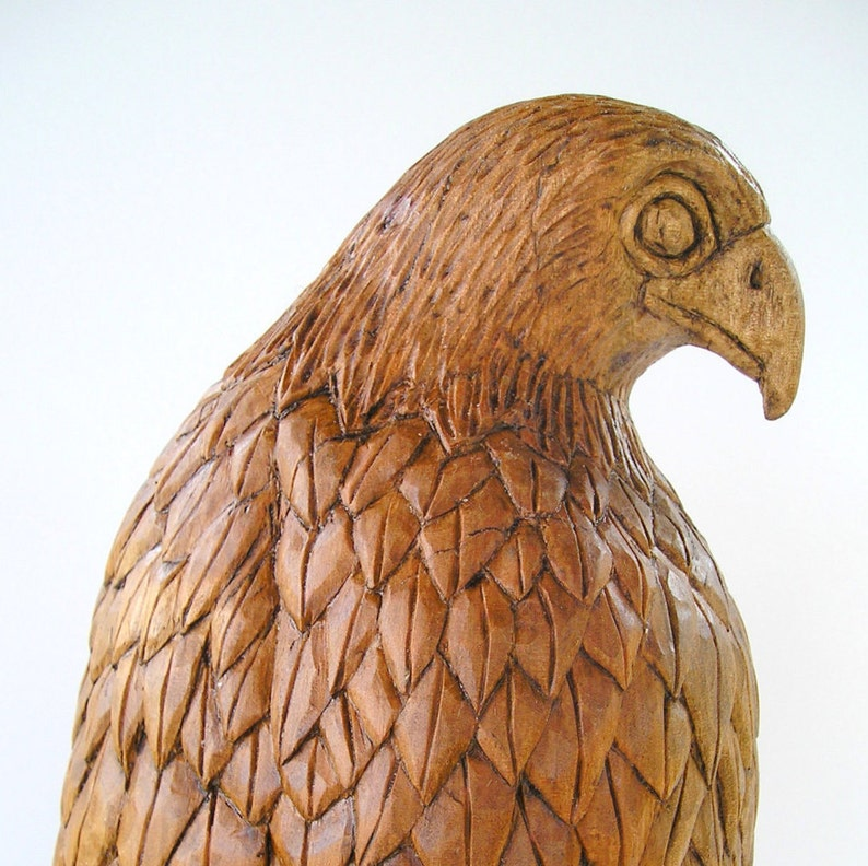 Falcon Wood carving Handmade Woodcarving 157 x 47 x 47 image 1