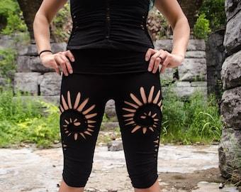 56c7db0a01 Capri pants slitweave cropped leggings for yoga festival leggings yoga  clothes spiral leggings gothic burner pixie yoga pants dance capris
