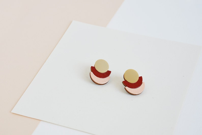 Burgundy modern earrings Blush Pink earrings Modern studs image 0