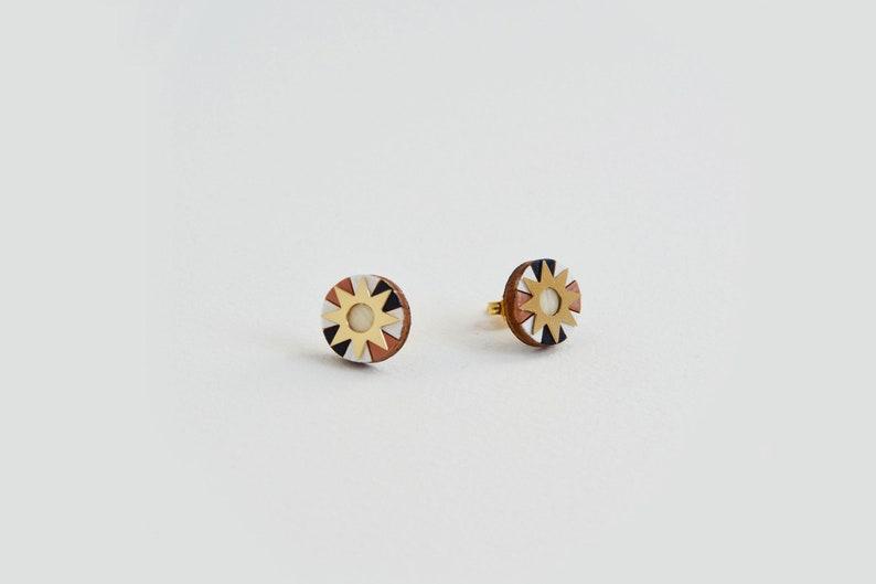 Gold Stud Earrings Pink Boho earrings stud Dainty sun Earrings Small Sun Earrings Boho earrings Sun post earrings Sun Stud Earrings