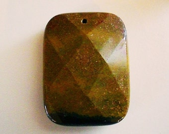 7027ad9f20 Large Faceted Genuine Natural Camel Agate Striated Gemstone Pendant  Rectangle Shape