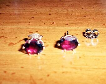 Ladies 5x7mm Oval .75CT Cut Brilliant Red Pyrope Garnet 925 Sterling Stud Earrings