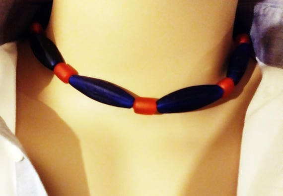 Handcrafted Navy /& Orange Frosted Sea Glass Beads Chicago Bears Sports Choker