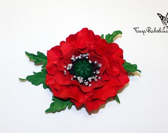 Red Flower Hair Clip Bright Flower Red Hair Accessory Prom Poppy Hair Clip Red Poppy Barrette Flower Wedding Accessory Baby Flower Hair Clip