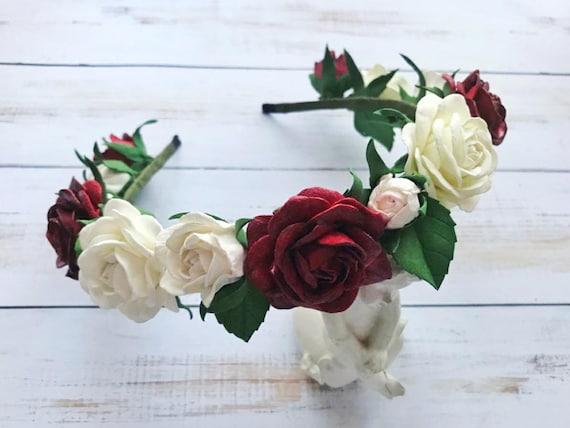 Rose Blume Krone Hochzeits Blumen Kopf Kranz Blume Krone Weiss Etsy
