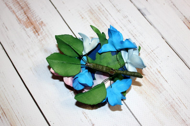 Wedding Country Bridal Brooch Blue Flower Brooch Rose Hydrangea Brooch Blue Flower Brooch Nature Flower Jewelry Floral Jewelry Gift