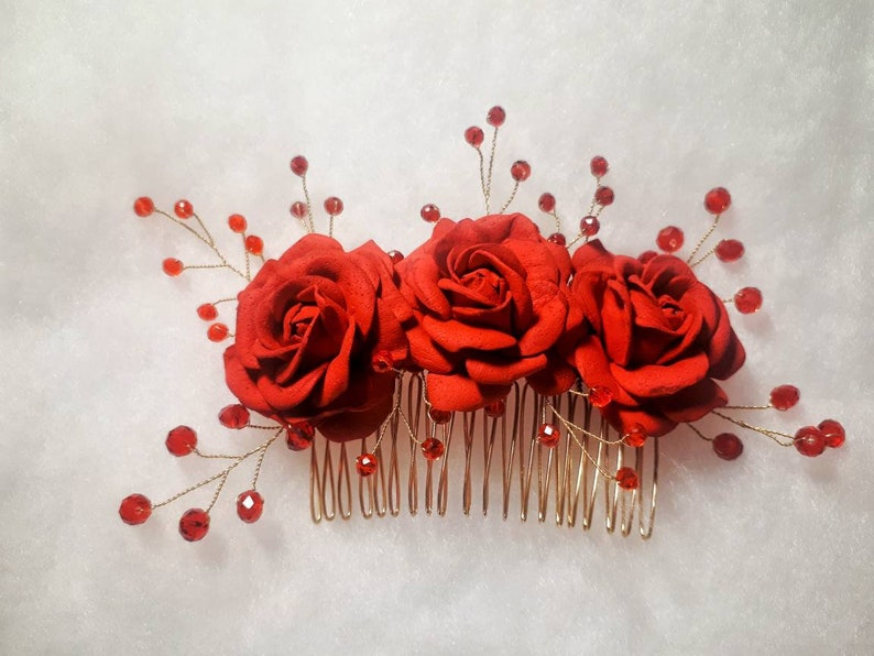 Flower Comb Photoshoot Hair Comb Wedding Floral Headpiece Red Bridesmaid Hair Comb Birthday Floral Gift Red Flower Crystals Hair Comb