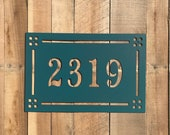 Craftsman Style Address Marker - Horizontal House Number - Metal Address Sign