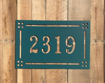 c74e9393611 Craftsman Style Address Marker - Horizontal House Number - Metal Address  Sign