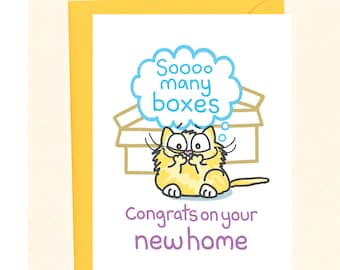 funny new home card cat card congratulations new house moving card housewarming card cat in a box