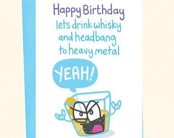 Funny Birthday Card, Headbanger, Whisky and Heavy Metal Card, Rock On!