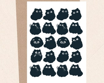Funny Cat Card, Birthday Card, Fluffy Black Cat Card, Cat Gifts