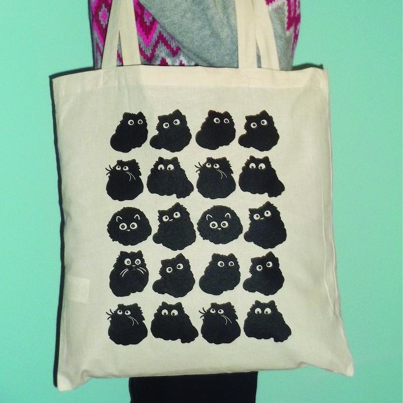 Cat Tote Bag Black Cat Reusable Shopping Bag Cat Print image 0