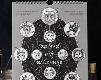 Cat Calendar with Zodiac Signs - perpetual calendar, wall calendar  for anniversaries & birthdays, zodiac sign, art calendar, zodiac cat