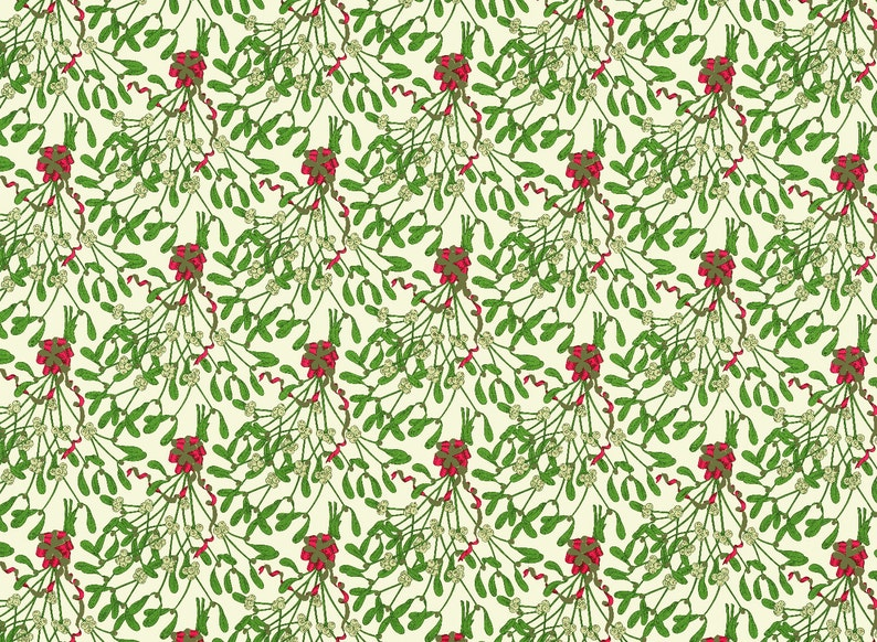 Fine Italian Decorative Paper HOLIDAY COLLECTION Red Green and Gold Mistletoe