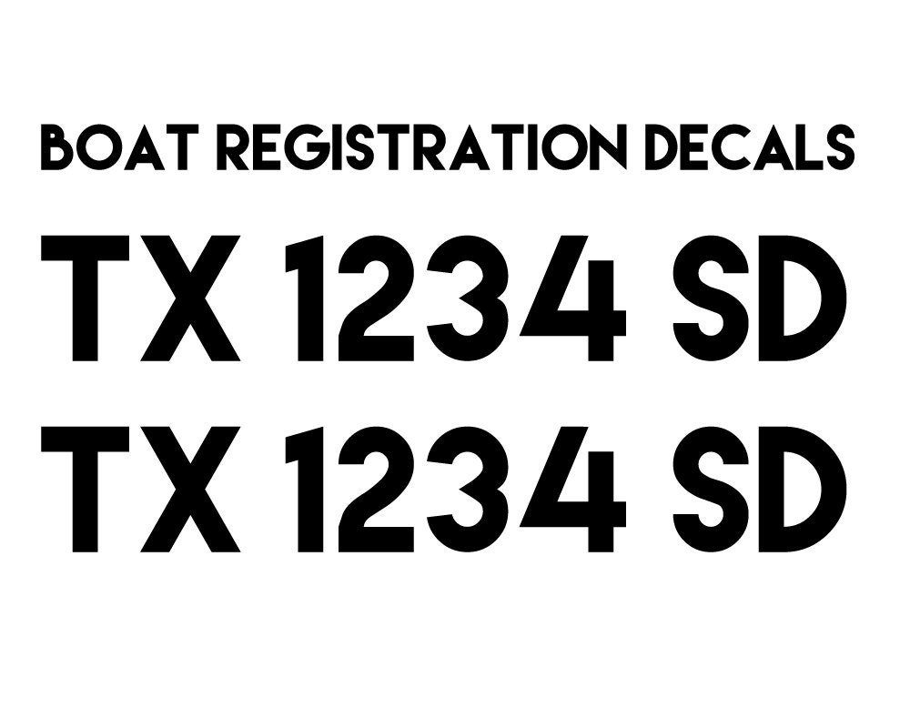 Set of Two, Custom Boat Registration Decals, 22 wide x 3 inch tall letters,  Any color vinyl, no background