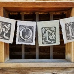 NOEL Banner - perfect holiday gift. Christmas decoration hand printed on natural up-cycled fabrics. Choose cream silk or sage linens.