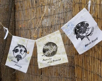 Botanical Print Prayer Flag set of three flags. Vintage floral fabrics. Hand cut block prints of motherwort, rose and rosemary. Mothers Day