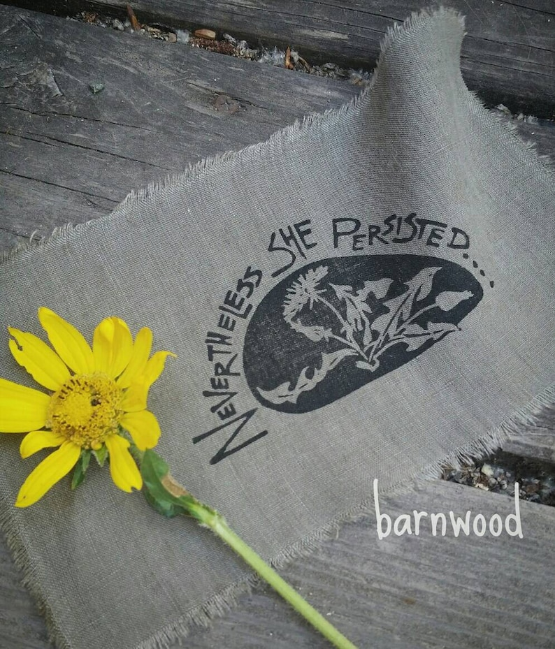Nevertheless She Persisted Dandelion Patch. Hand carved stamp image 0