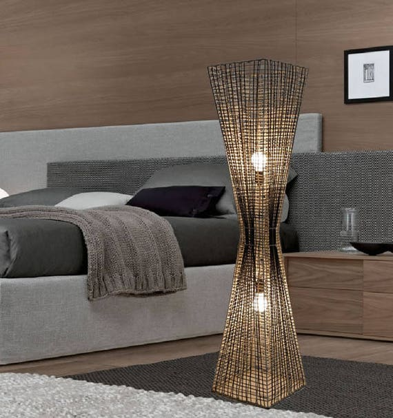 New Handmade Art Decoratic Design Rattan Floor Lamp Tku007l Modern Contemporary Lighting For Living Room Bedroom Corner