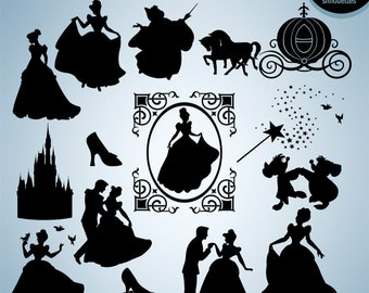 Cinderella silhouettes Disney princess, Cinderella svg cut file, Princess silhouette, set of Cinderellas clipart, eps, png, INSTANT DOWNLOAD
