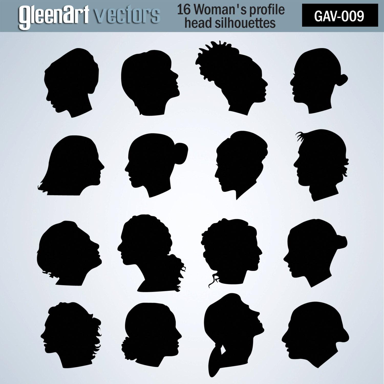 Silhouette Fifty Fab Woman: 50% Off Sale 16 Women Profile Silhouettes / Female Head