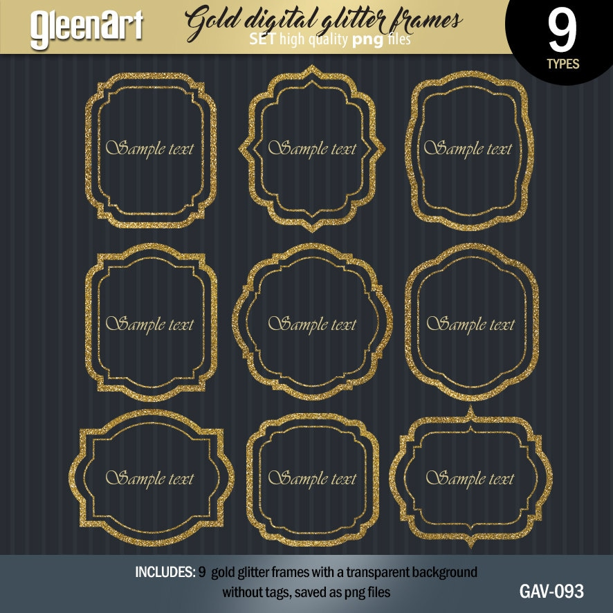 Verkauf Glitter Bilderrahmen Png Gold-Glitzer-Etiketten   Etsy