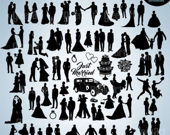 60 PREMIUM Wedding silhouette/Wedding party clipart/Bride/vector/eps /ai/png/svg/jpg/Personal&Commercial Use/INSTANT DOWNLOAD