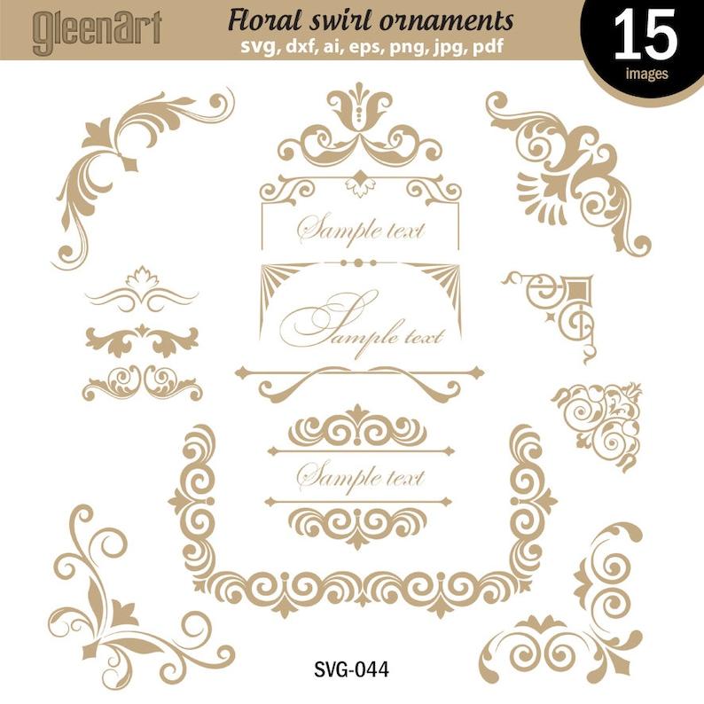 Floral Borders Eps Digital Frame Clipart Swirl Frames Instant Download Flower swirl frames Commercial use Png GAV-033 Png Clipart